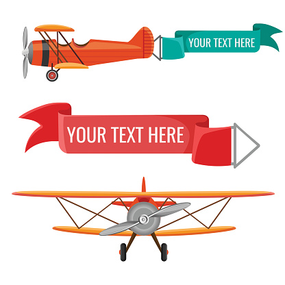 Two biplanes with advertising posters vector air means of transportation