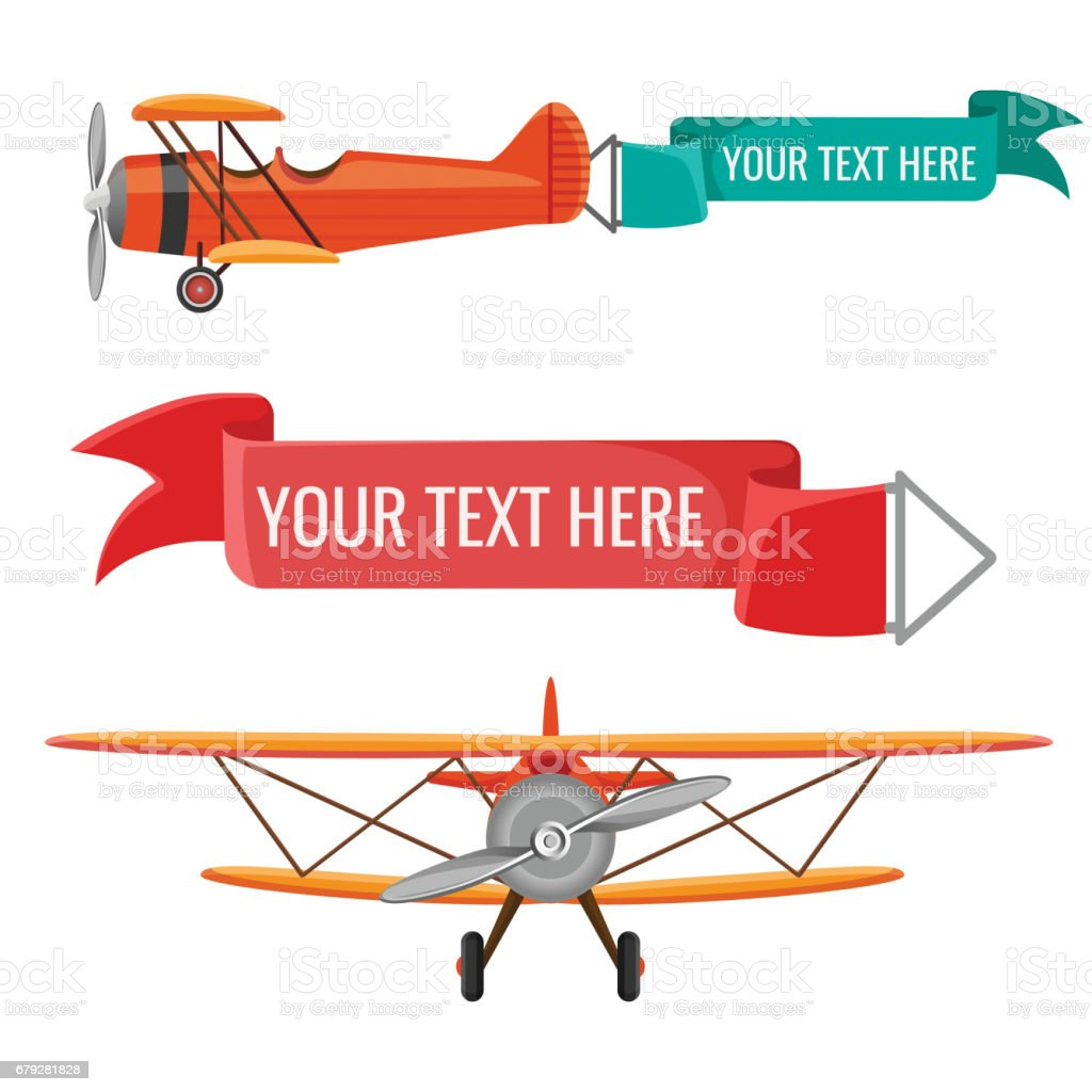 Two biplanes with advertising posters vector air means of transportation vector art illustration