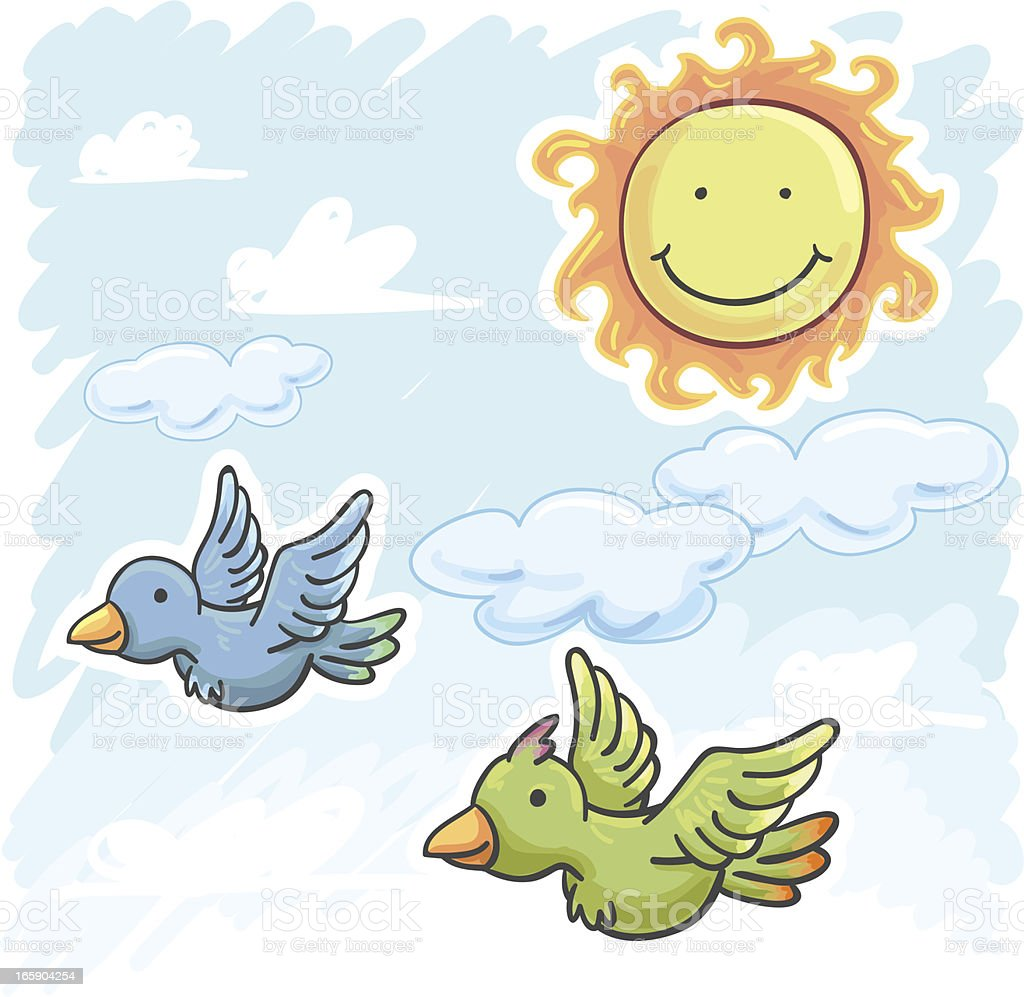 Two birds are flying on the sunny day royalty-free two birds are flying on the sunny day stock vector art & more images of animal