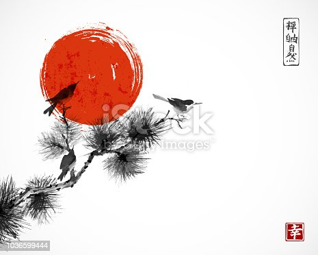 Two birds on pine tree branch and big red sun. Traditional oriental ink painting sumi-e, u-sin, go-hua.  Hieroglyphs - zen, freedom, nature, happiness.