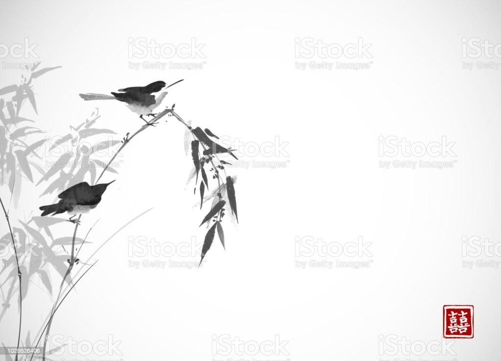 Bambu Dalda Oturan Iki Kuş Geleneksel Oryantal Mürekkep Boyama Sumie