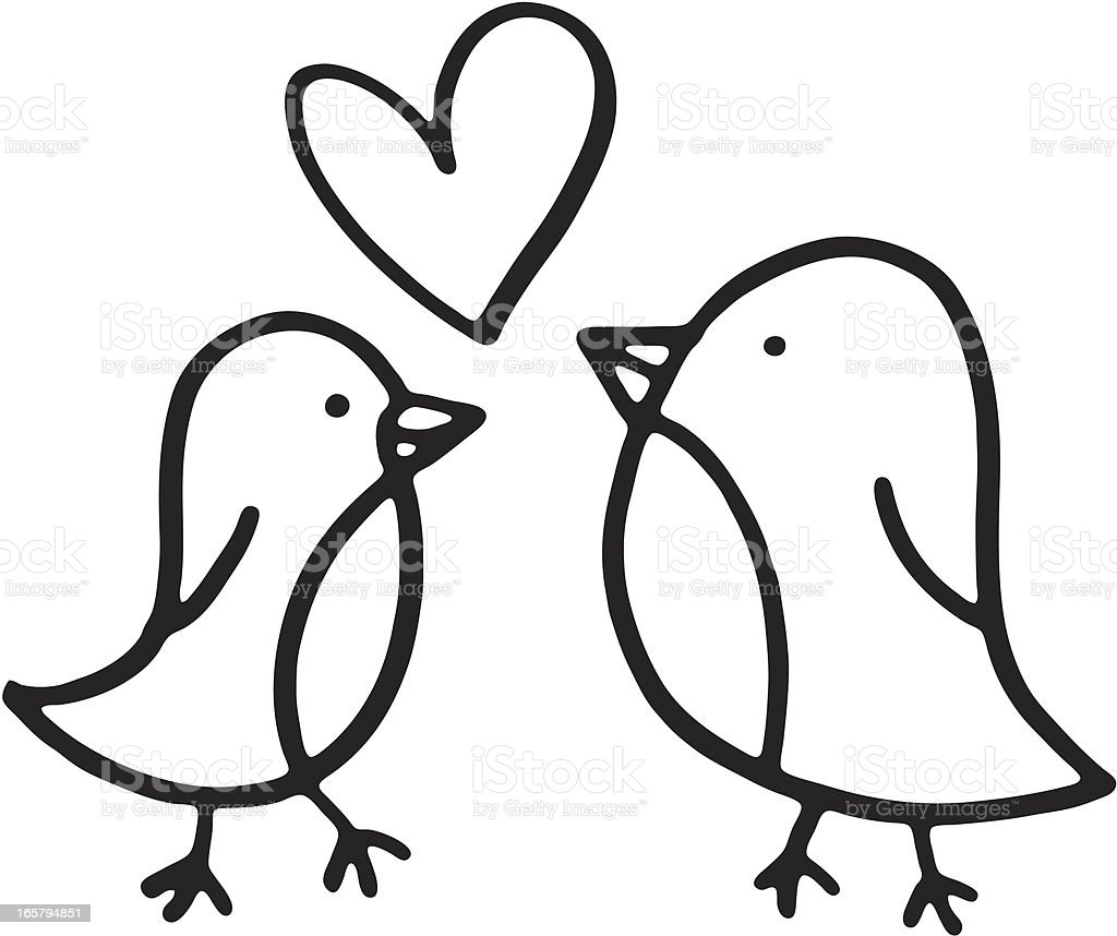 Zwei Vögel Skizze mit Liebe Herz – Vektorgrafik