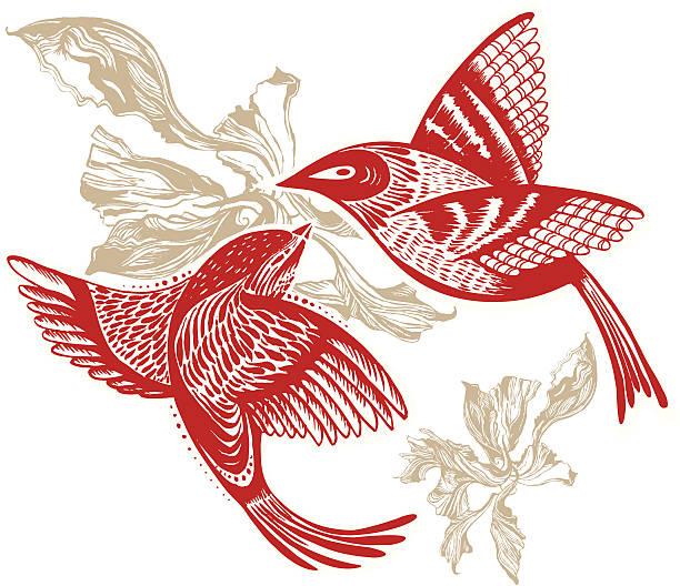 Deux oiseaux - Illustration vectorielle