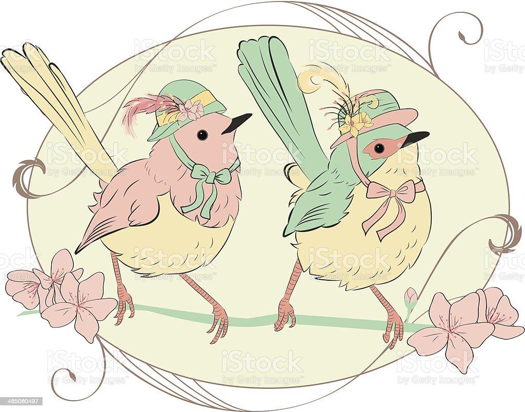 Two birds vintage vector art illustration