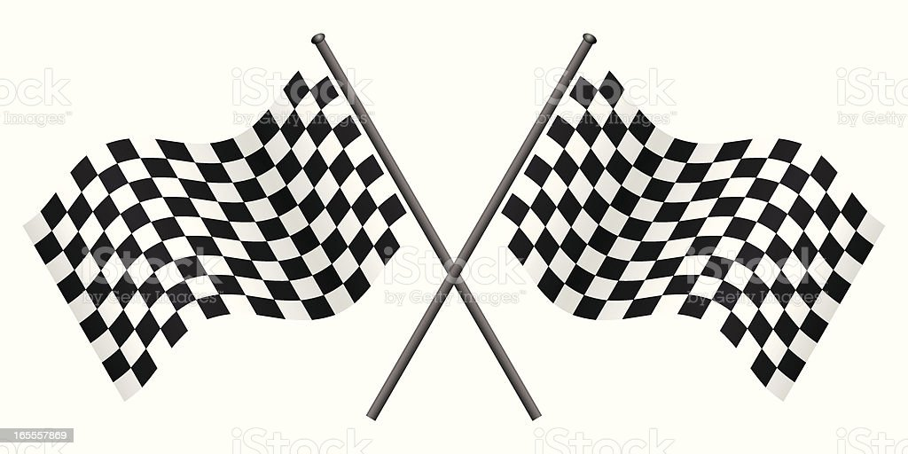 Two black and white checkered flags forming an X royalty-free stock vector art