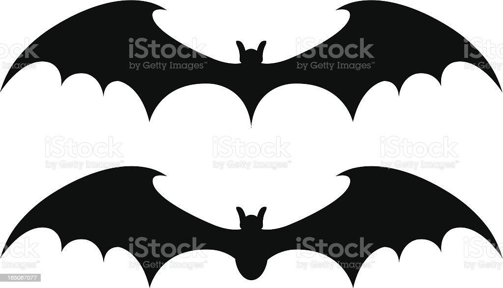 Two black bat designs on a white background royalty-free two black bat designs on a white background stock vector art & more images of animal