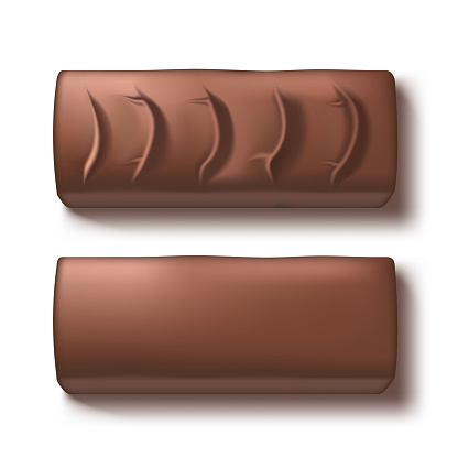 3D Two Black Chocolate Candy Bar With Shadow