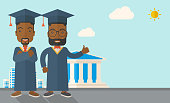 A happy two black young men wearing a toga and graduation cap standing under the sun. A Contemporary style with pastel palette, soft blue tinted background with desaturated clouds. Vector flat design illustration. Horizontal layout with text space in lower right side.