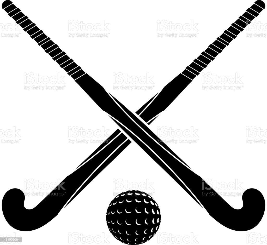 Zwei schwarze Silhouetten sticks für Feldhockey und ball – Vektorgrafik