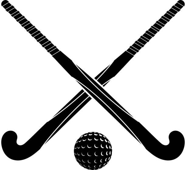 zwei schwarze silhouetten sticks für feldhockey und ball - hockey stock-grafiken, -clipart, -cartoons und -symbole