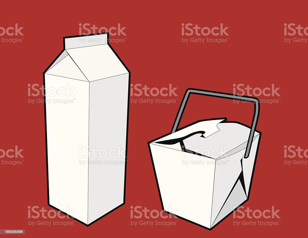 Two Blank Cartons (vector) royalty-free two blank cartons stock vector art & more images of black color