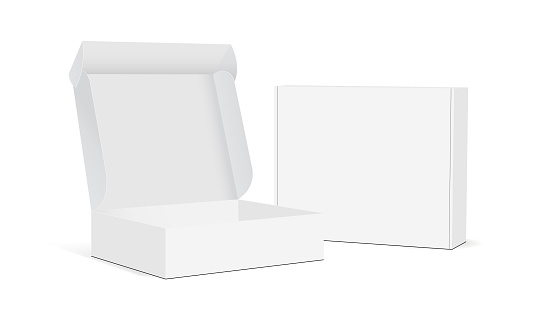 Two blank packaging boxes - open and closed mockup