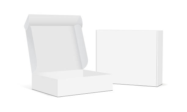 Two blank packaging boxes - open and closed mockup Two blank packaging boxes - open and closed mockup, isolated on white background. Vector illustration package stock illustrations