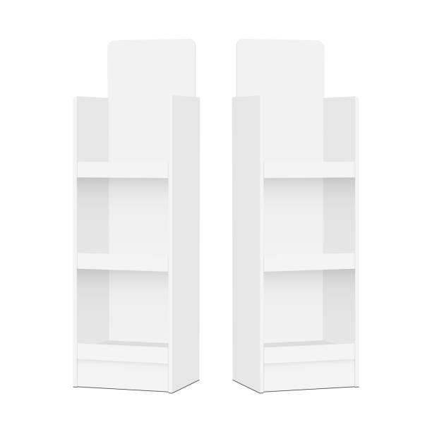 Two blank POS display stands Two blank POS display stands - side views. Vector illustration retail equipment stock illustrations