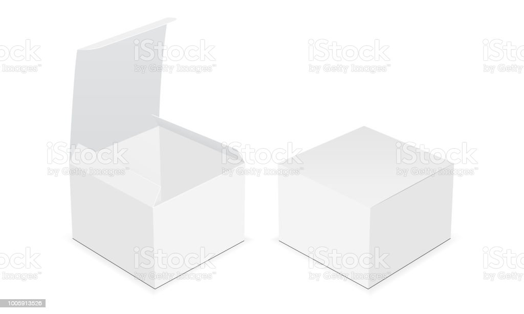 Two blank square boxes - open and closed mock up vector art illustration