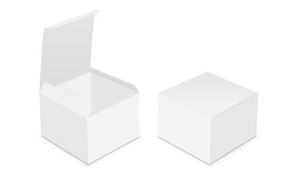 2 つ空白の正方形ボックスを開き、模擬がクローズ アップ - box点のイラスト素材/クリップアート素材/マンガ素材/アイコン素材