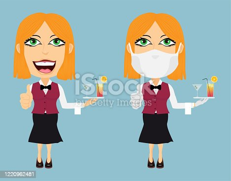 istock Two Blonde Caucasian waitresses happy and confused with mask white gloves thumbs up cocktails towel bow tie red vest and black pants 1220962481