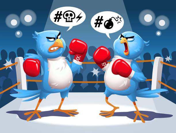 illustrazioni stock, clip art, cartoni animati e icone di tendenza di two blue birds fighting in a boxing ring - furioso
