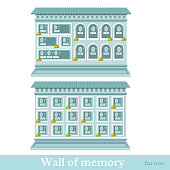 Two blue colored flat wall of memory different style vector illustration
