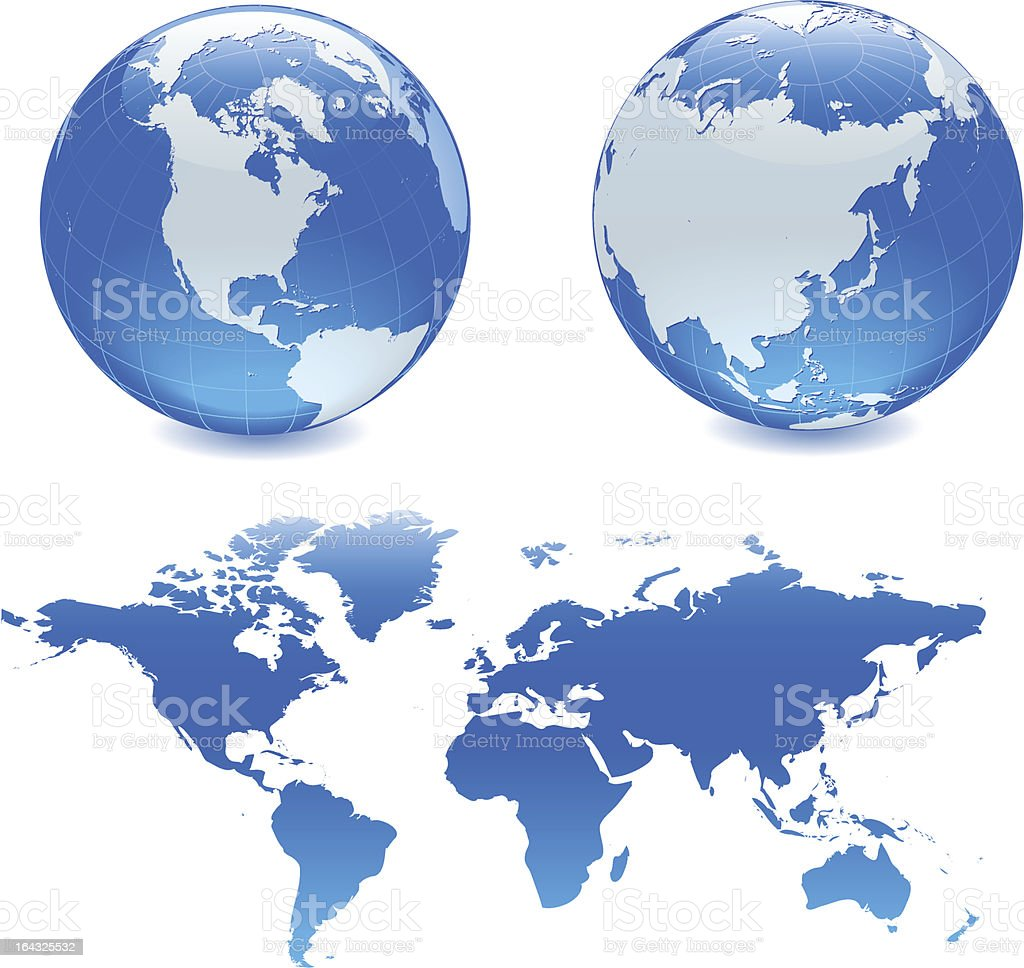 Whole Map Of The World.Two Blue Globes And A Whole Map Of The World Stock Illustration