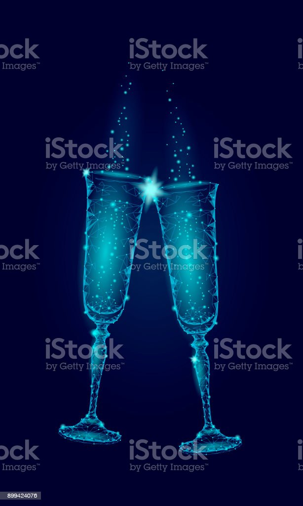 Two Blue Glowing Glasses Champagne Sparkles Happy New Year Valentine