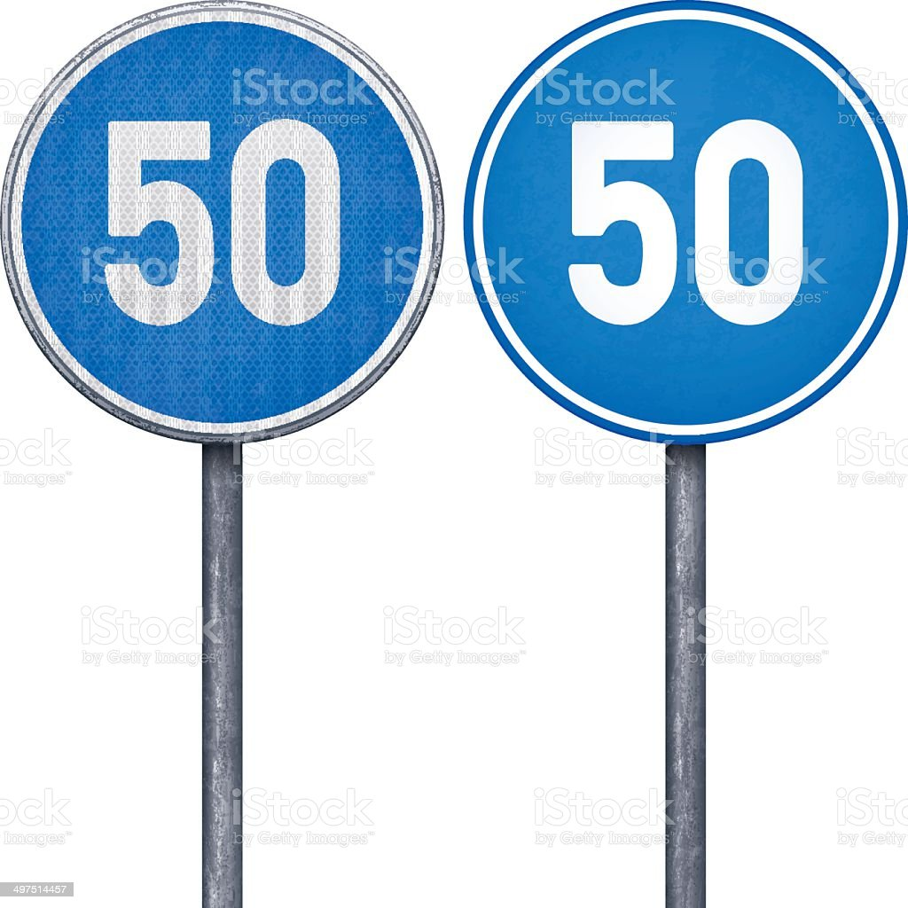 Two blue minimum speed limit 50 circular road signs royalty-free two blue minimum speed limit 50 circular road signs stock vector art & more images of black color