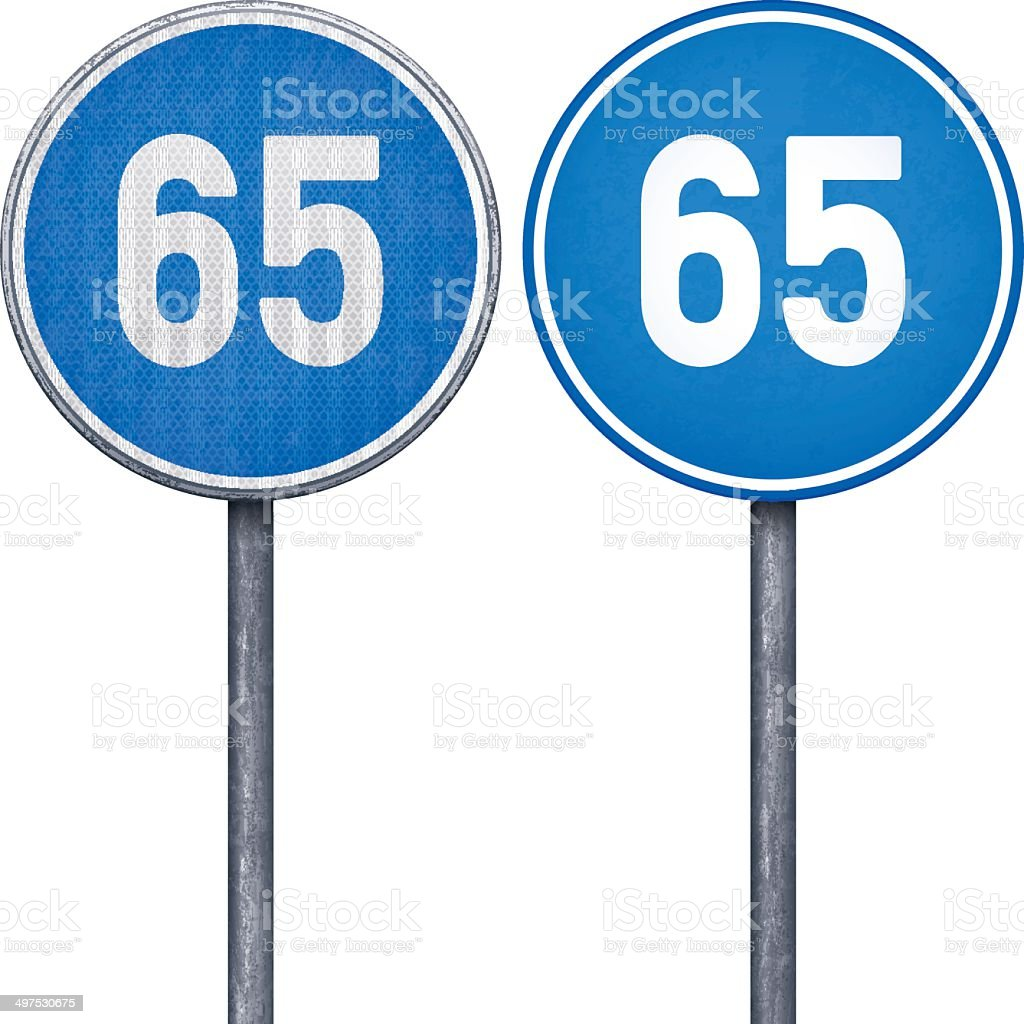 Two blue minimum speed limit 65 circular road signs royalty-free stock vector art