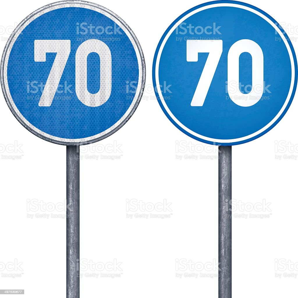 Two blue minimum speed limit 70 circular road signs royalty-free two blue minimum speed limit 70 circular road signs stock vector art & more images of black color