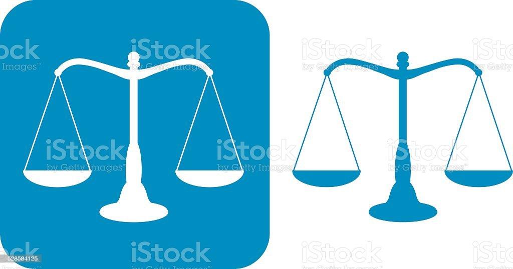 Dos balanzas de la justicia iconos azules - ilustración de arte vectorial