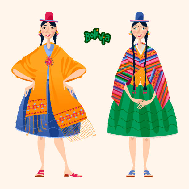 Two Bolivian women in traditional clothes. Two Bolivian women in traditional clothes. Vector illustration. serape stock illustrations