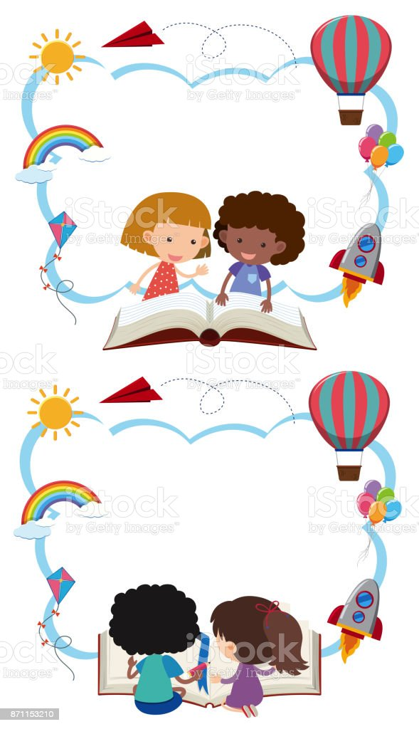two border templates with kids reading books royalty free stock vector art - Art Templates For Kids