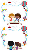 Two border templates with kids reading books