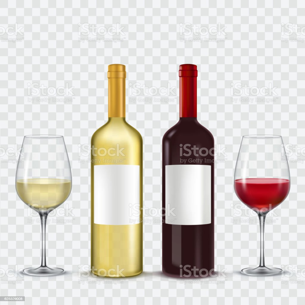 Two bottles and  glasses of wine - red  white vector art illustration