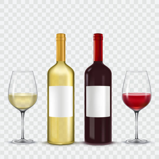 two bottles and  glasses of wine - red  white - butelka wina stock illustrations