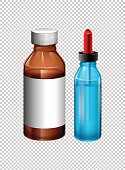 Two bottles contain medicine
