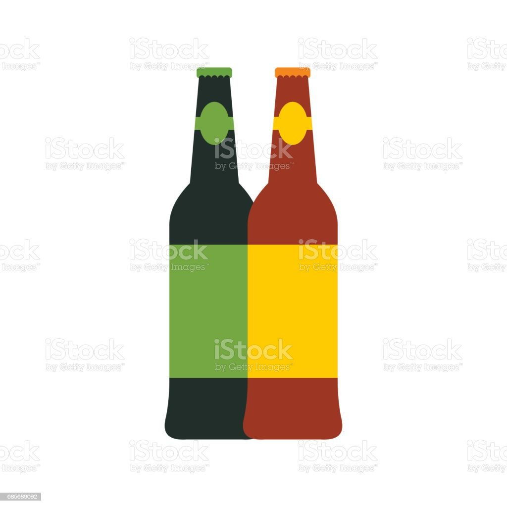 Two bottles of beer icon, flat style royalty-free two bottles of beer icon flat style stock vector art & more images of alcohol