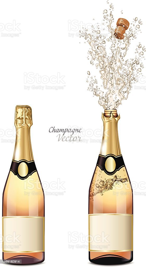 Two bottles of champagne, one closed and one popped open vector art illustration