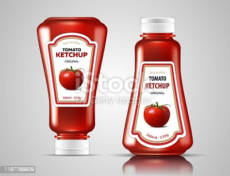 Two bottles of ketchup with a picture of tomato on labels on a glossy surface. Highly realistic illustration.