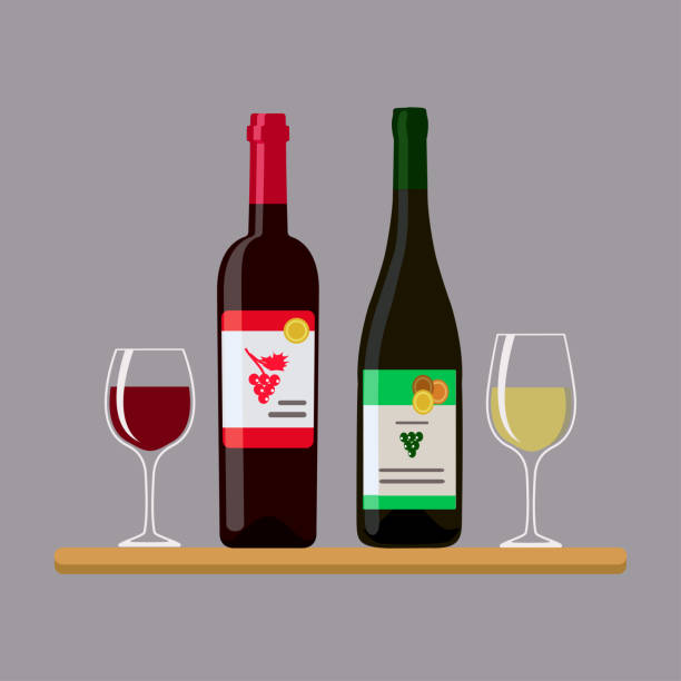 ilustrações de stock, clip art, desenhos animados e ícones de two bottles wine and two glass, isolated on gray background - vinho
