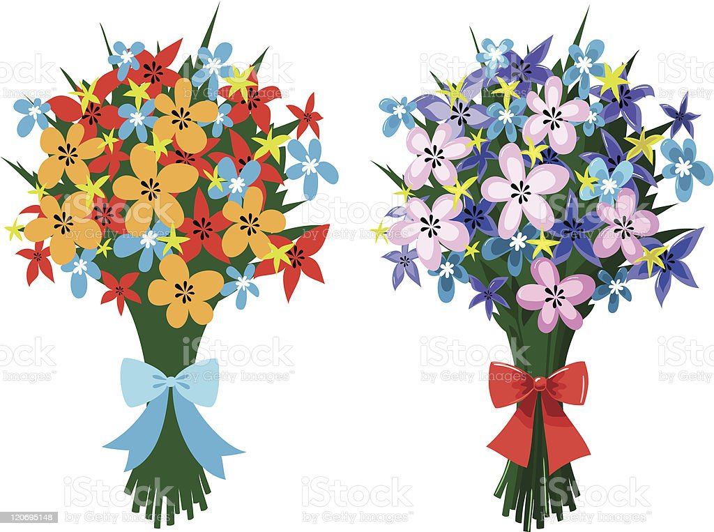 Two Bouquets Of Spring Flowers With Bows Stock Vector Art & More ...