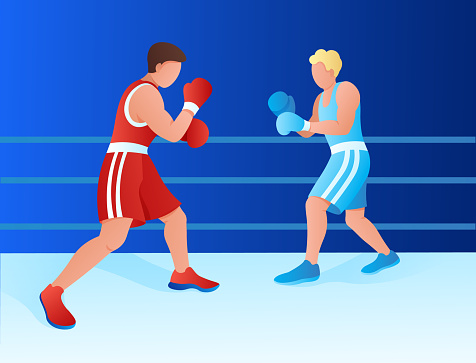 two boxer athletes fight in ring. training, competition, championship. vector flat illustration.
