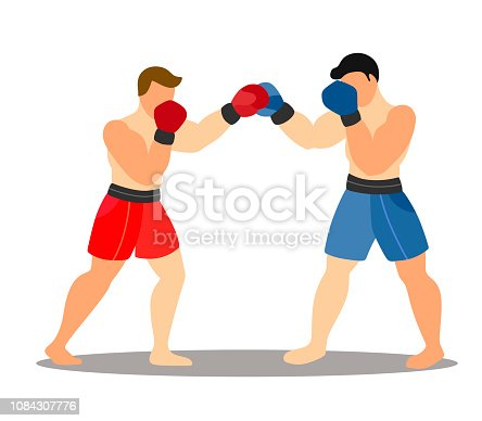 istock Two boxers in a fight against a white background. Cartoon flat illustration 1084307776