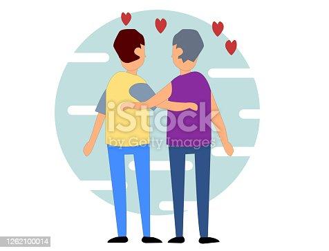 istock Two boy are hugging. Flat Cartoon Vector Illustration. Lesbian, LGBT concept. 1262100014