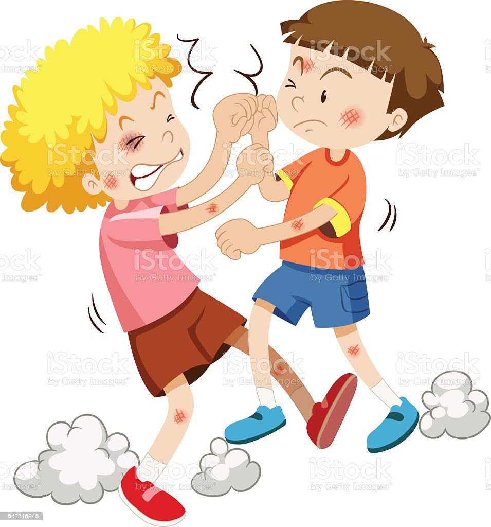Two boy fighting each other vector art illustration