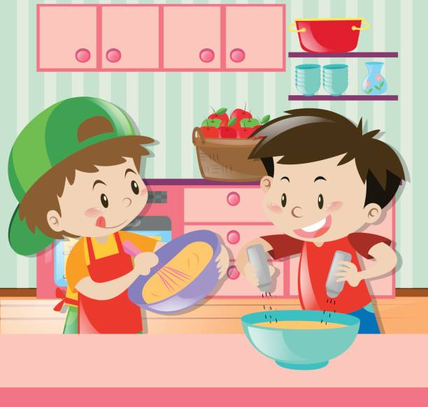 two boys cooking in kitchen - mixing bowl stock illustrations, clip art, cartoons, & icons
