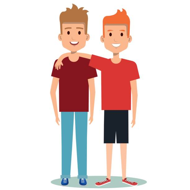 two boys hugging best friends happy smiling - brother stock illustrations, clip art, cartoons, & icons