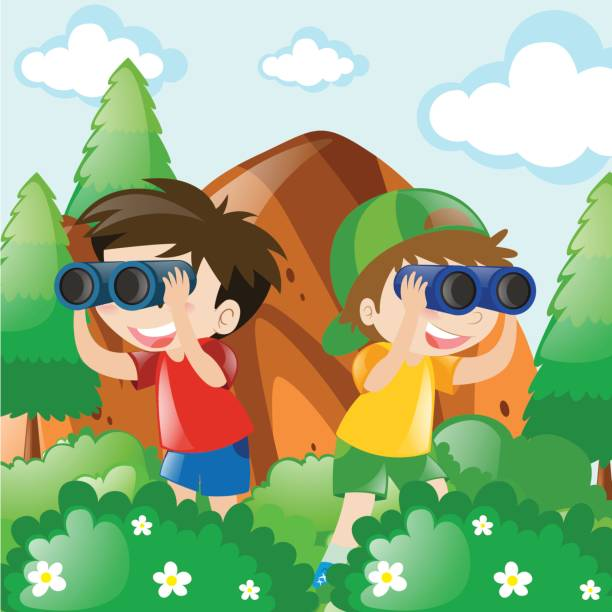 Two boys in bush for bird watching vector art illustration