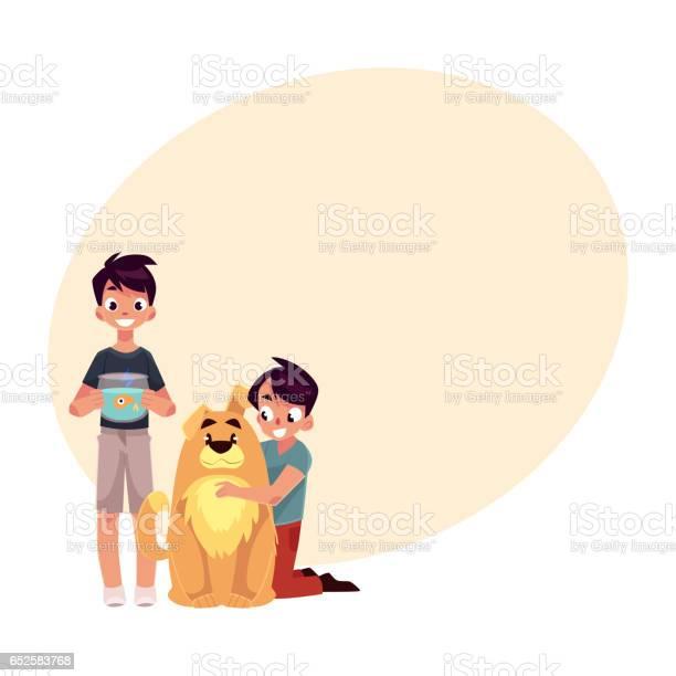 Two boys kids hugging fluffy dog and holding fish aquarium vector id652583768?b=1&k=6&m=652583768&s=612x612&h=pz5ydmalvvrinljlcifkfh1nnmzgsug2v0ndlrddbmy=