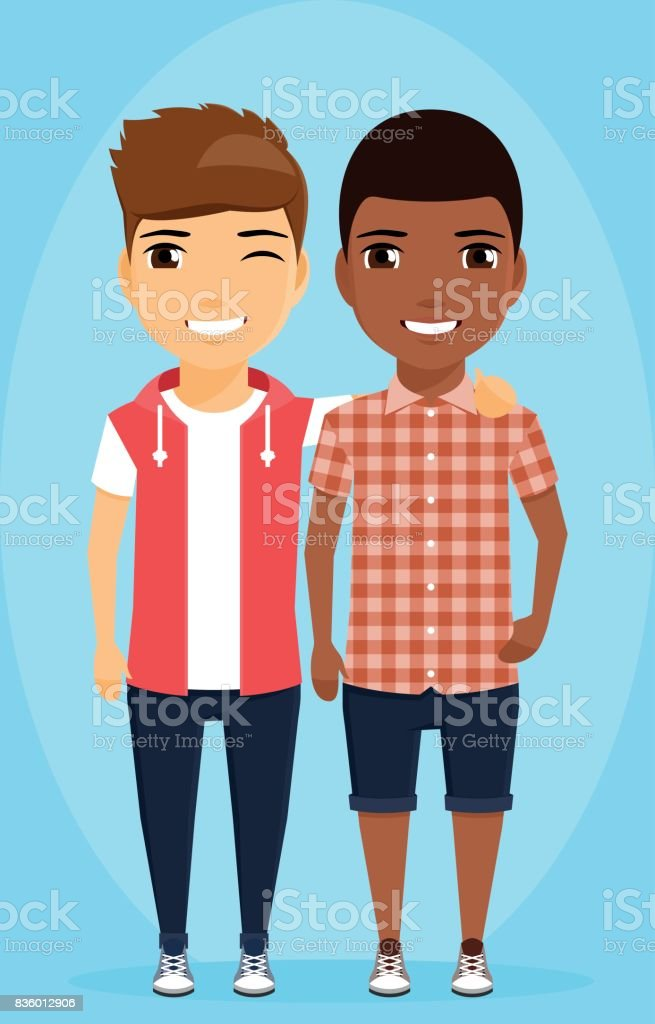 two boys of different ethnic groups standing next to each other