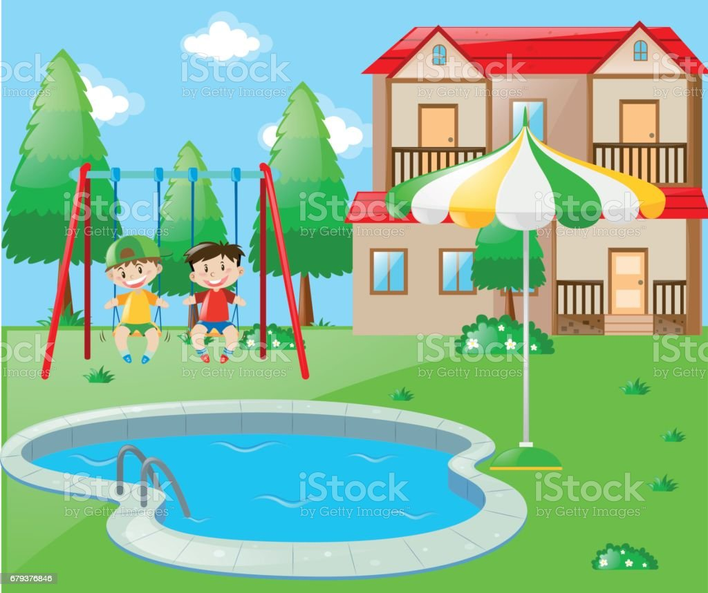 Two boys on swing by the pool royalty-free two boys on swing by the pool stock vector art & more images of art